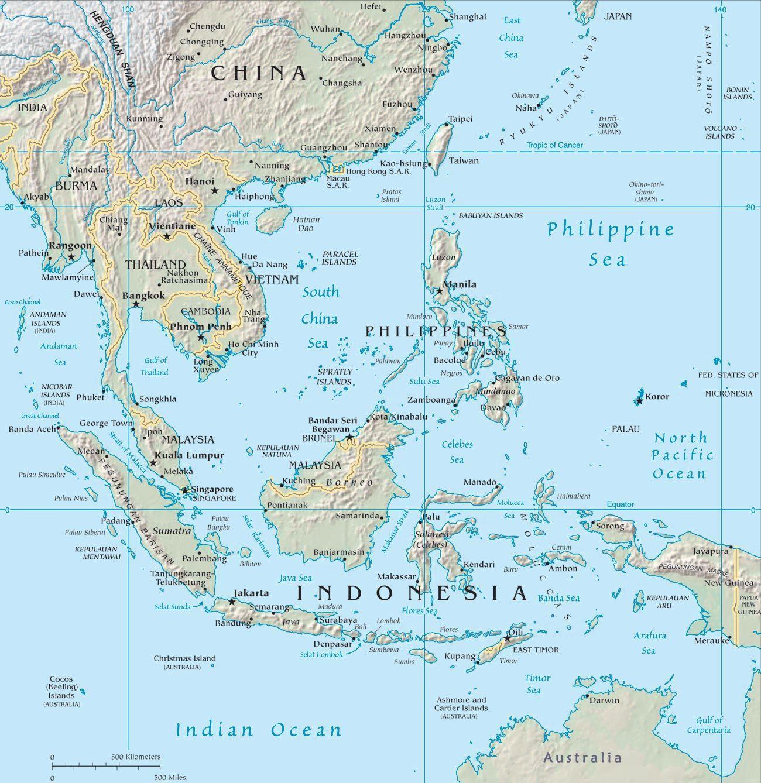 Malaysia Asien Kort Kort Over Malaysia I Asien Syd Ostlige