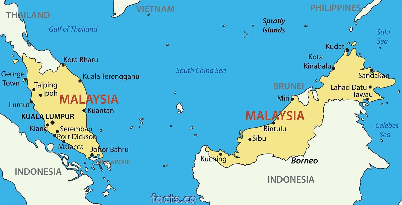 Malaysia Kort Et Kort Over Malaysia Syd Ostlige Asien Asien