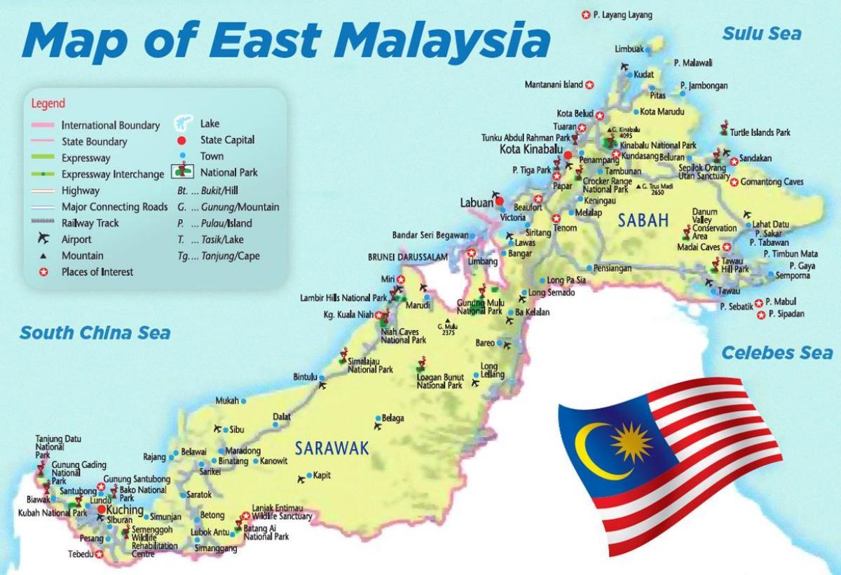 East Malaysia Kort Kort Over Det Ostlige Malaysia Syd Ostlige
