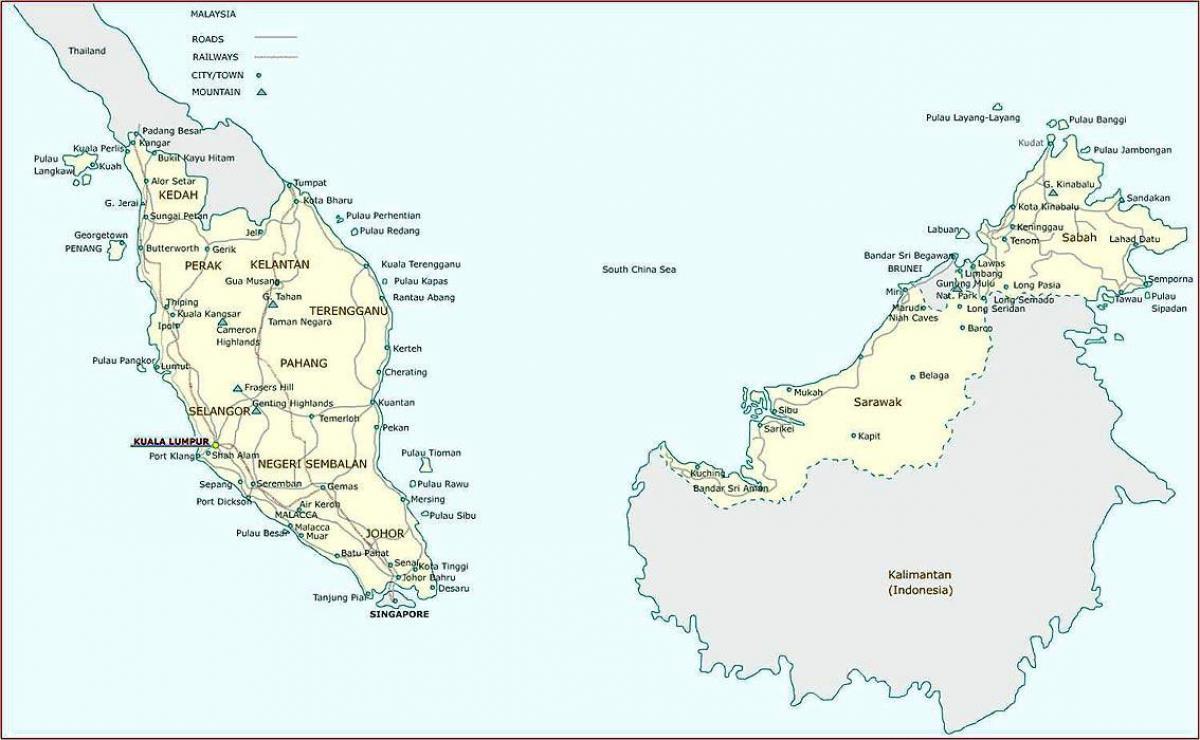 Kort Over Malaysia Detaljeret Kort Over Malaysia Syd Ostlige