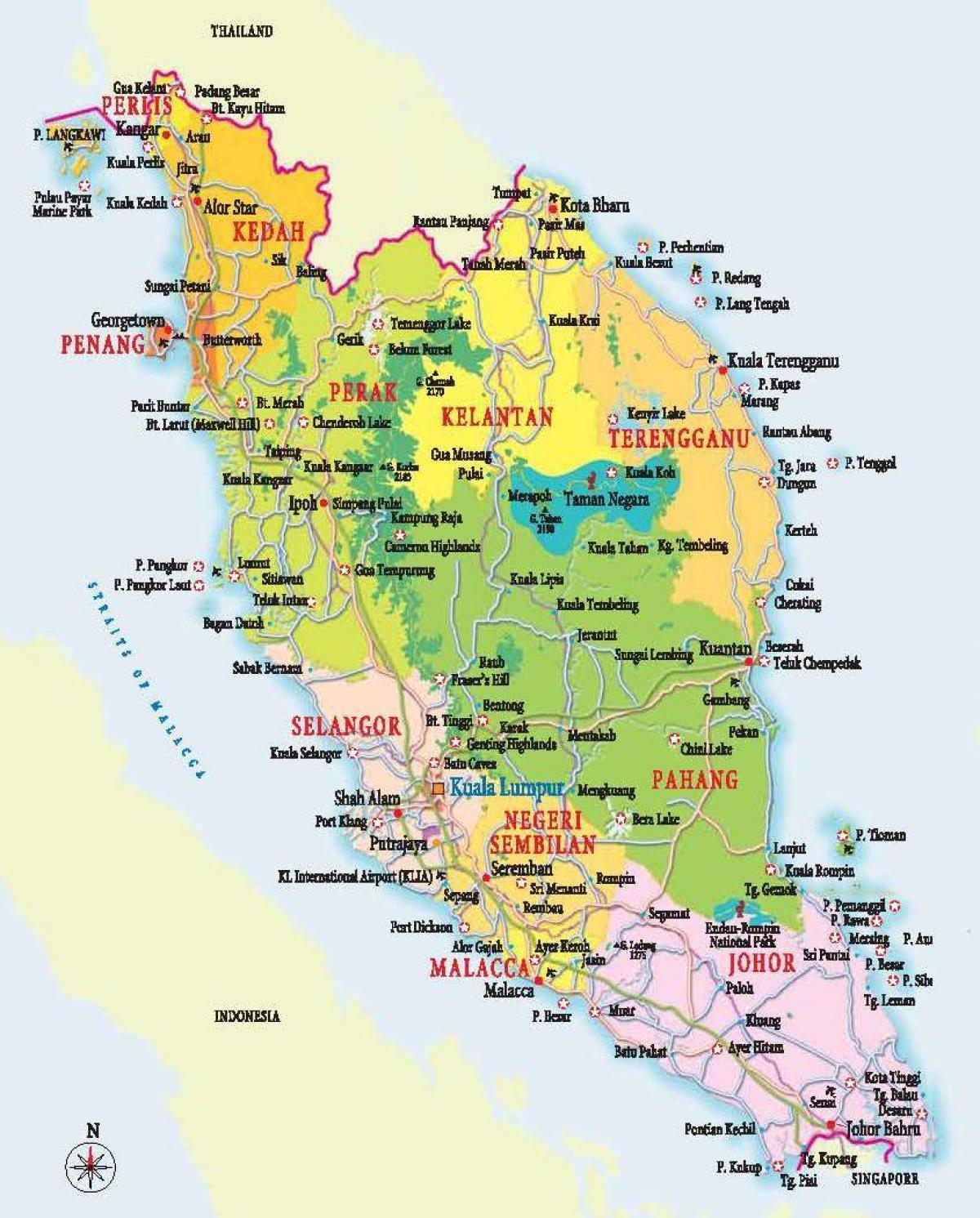 I Det Vestlige Malaysia Kort Kort Over Det Vestlige Malaysia