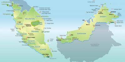 Malaysia Kort Kort Malaysia Syd Ostlige Asien Asien